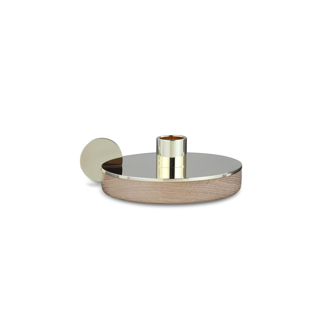 Camino Ines Candlestick Holder | Waxed Oak/Brass- CM12082