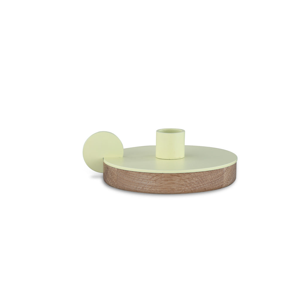 Camino Ines Candlestick Holder | Waxed Oak/Yellow- CM12083