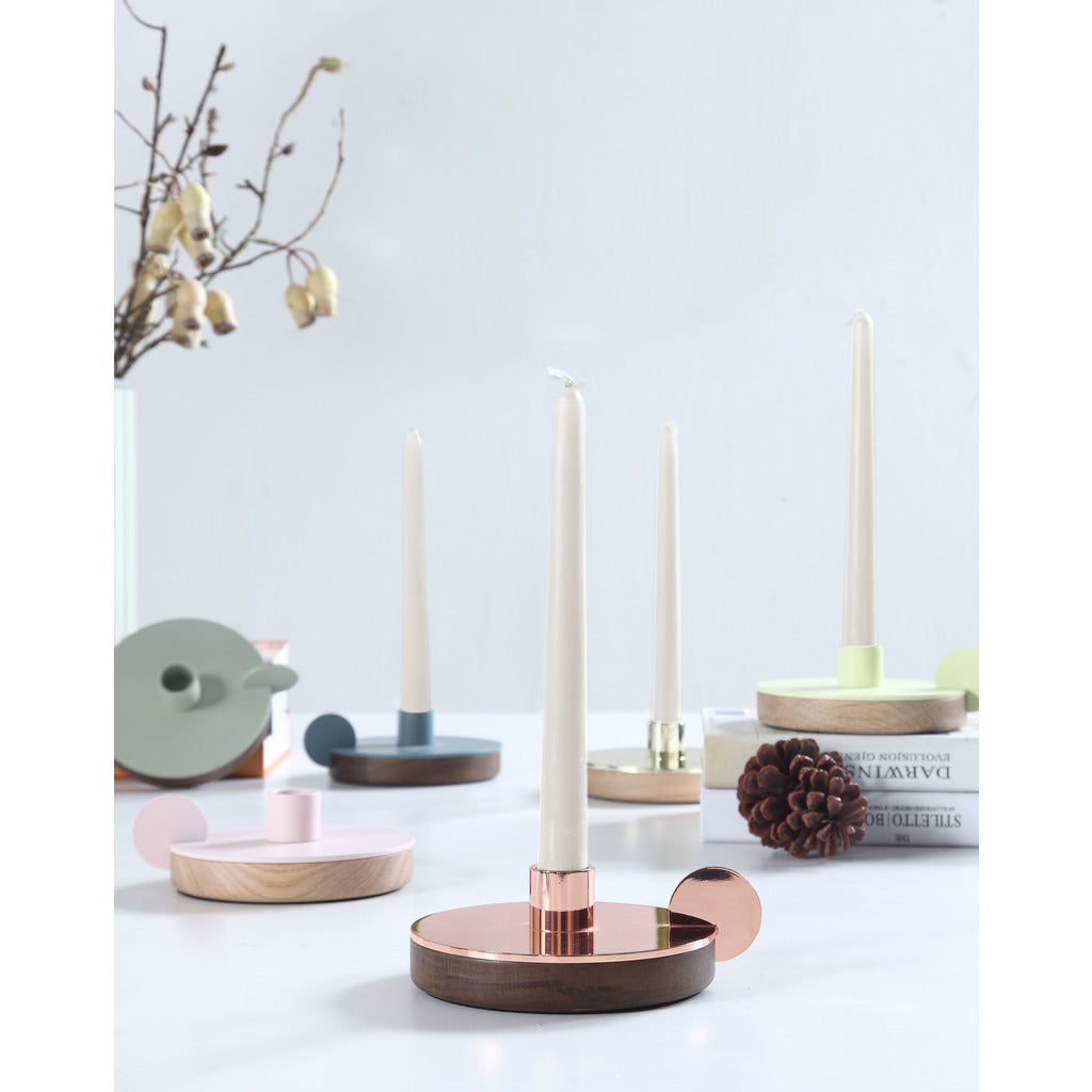 Camino Ines Candlestick Holder | Waxed Oak/Pink