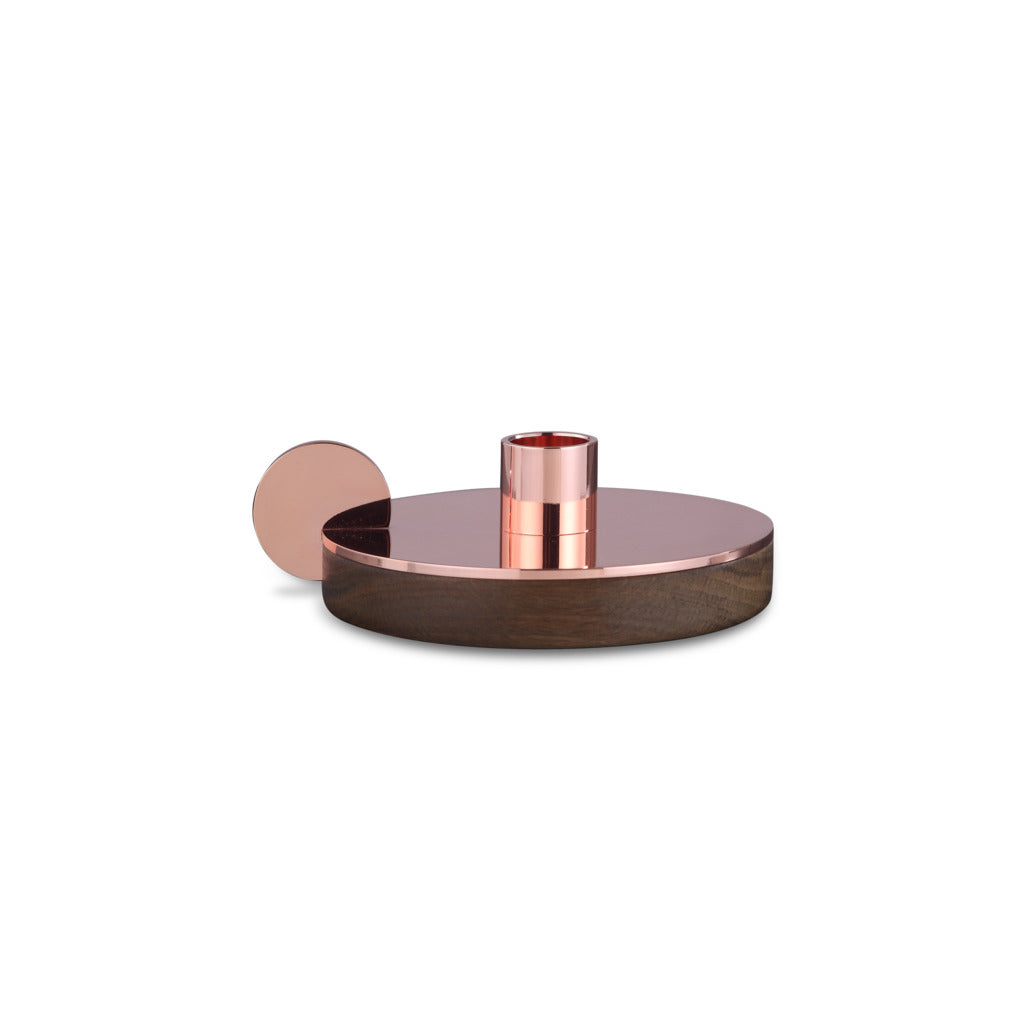 Camino Ines Candlestick Holder | Smoked Oak/Copper- CM12085