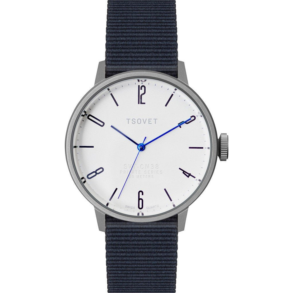 Tsovet SVT-CN38 Silver & White Watch | Navy Nylon CN110198-40
