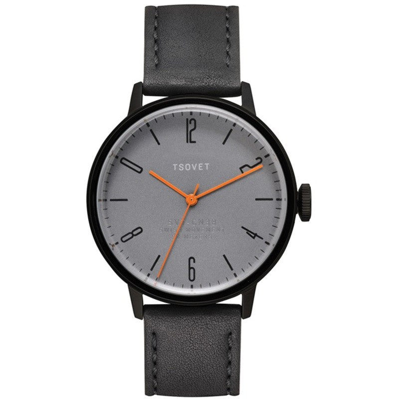 Tsovet SVT-CN38 Swiss Quartz Black & Grey Watch | Black Leather