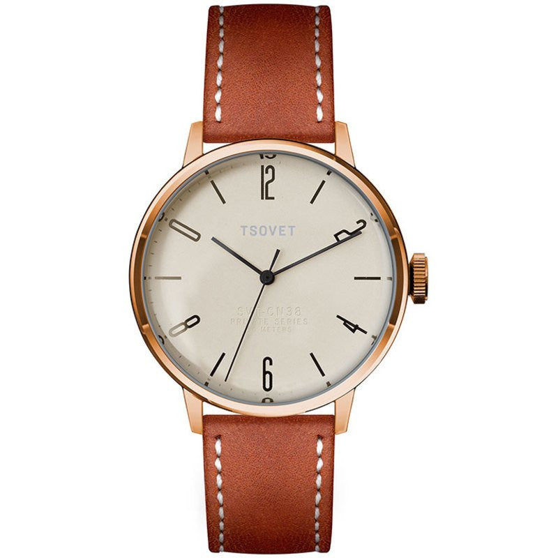 Tsovet SVT-CN38 Swiss Quartz Rose & Champagne Watch | Brown/White Leather