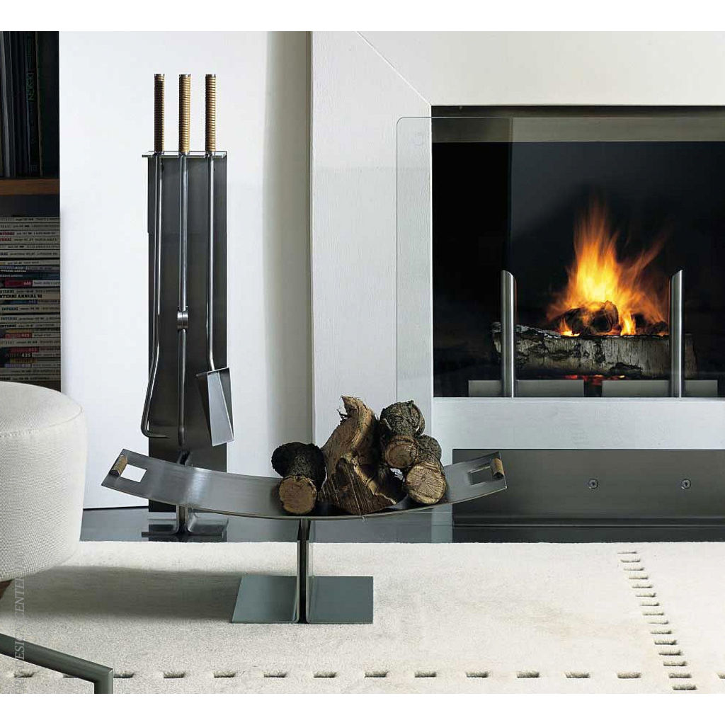 Conmoto Fireside Log Holder by Peter Maly | Stainless Steel & Leather CO-PMLS