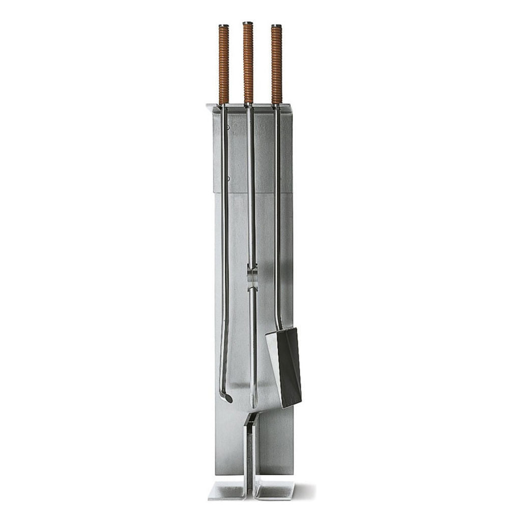 Conmoto 3 Piece Fireside Tool Set with Floor Stand by Peter Maly | Stainless Steel & Leather CO-PMTS