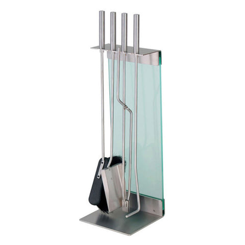 Conmoto Teras 3 Piece Fireside Tool Set with Floor Stand by Sebastian Büscher  | Stainless Steel & Glass CO-TERA