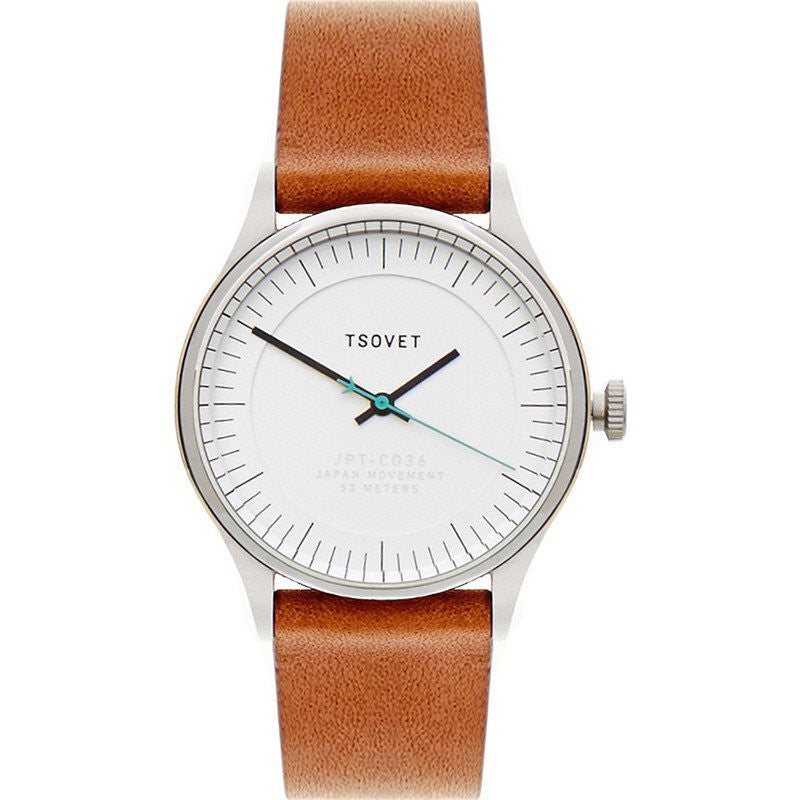 Tsovet JPT-CO36 Classic Watch | White/Tan CO110111-40