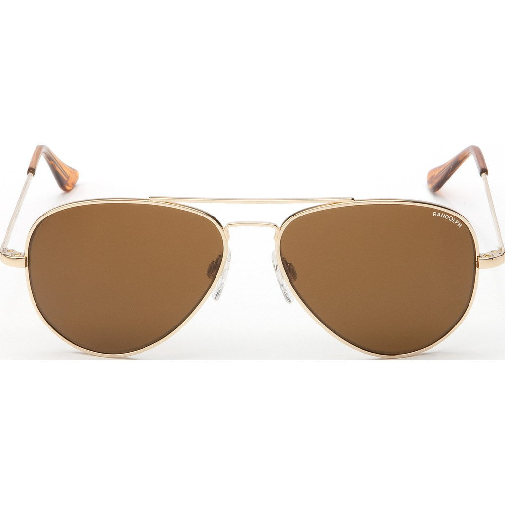 Randolph Engineering Concorde 23K Gold Plated Sunglasses | Tan Glass Skull 52MM CR21412/61MM CR11412