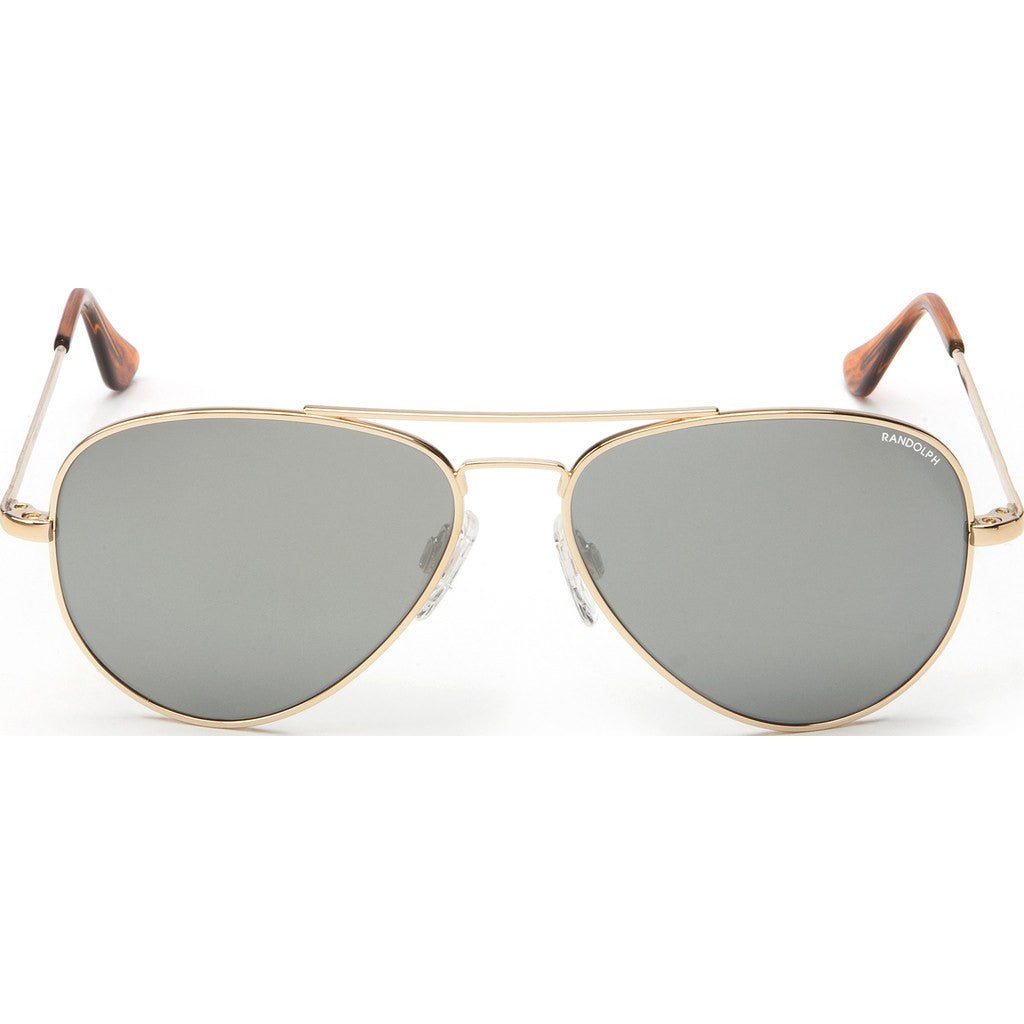 Randolph Engineering Concorde 23K Gold Plated Sunglasses | Gray Flash Mirror Glass Skull 57MM CR71463/61MM CR11463