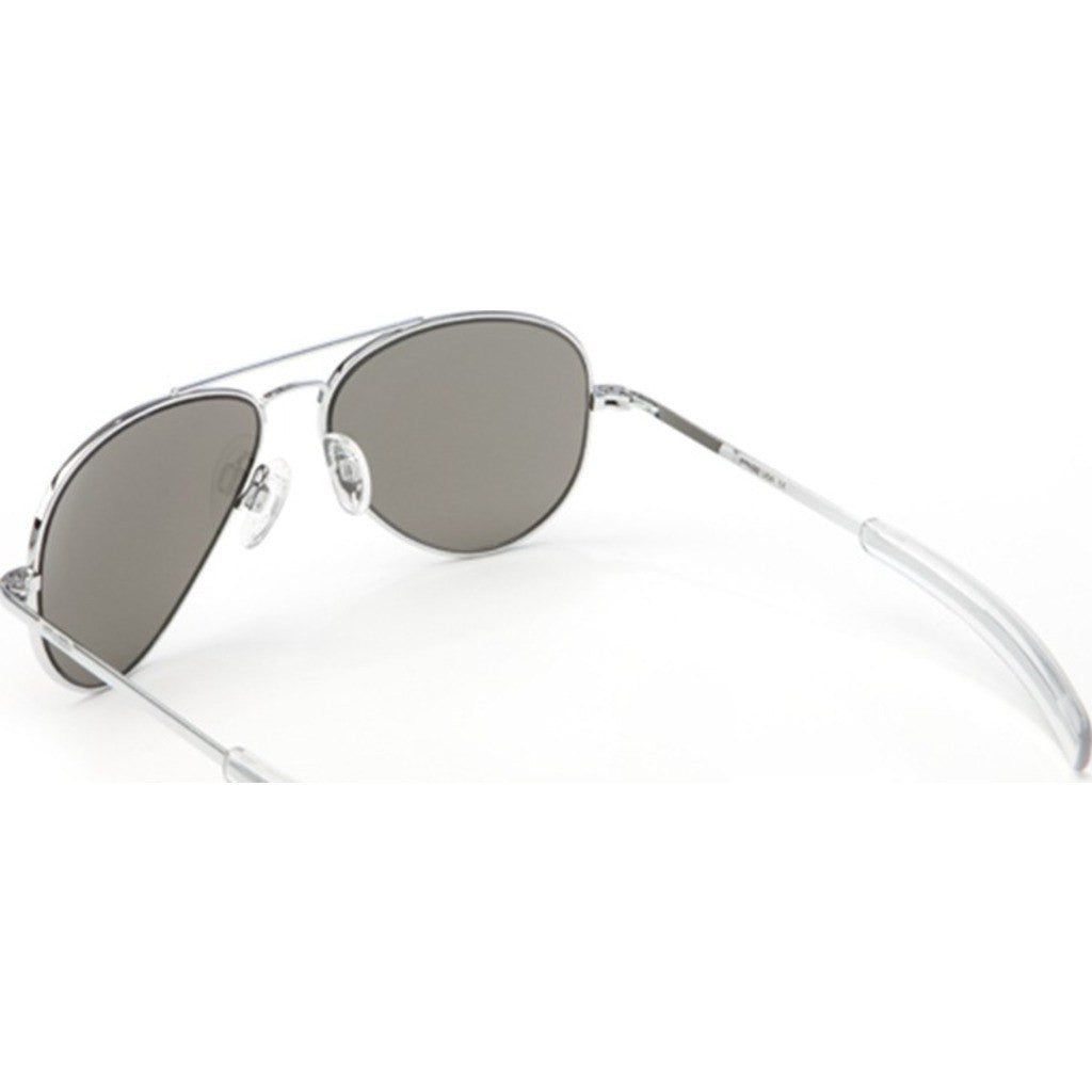 Randolph Engineering Concorde Bright Chrome Sunglasses | Gray Polarized Glass Bayonet 57MM CR73634/61MM CR13634