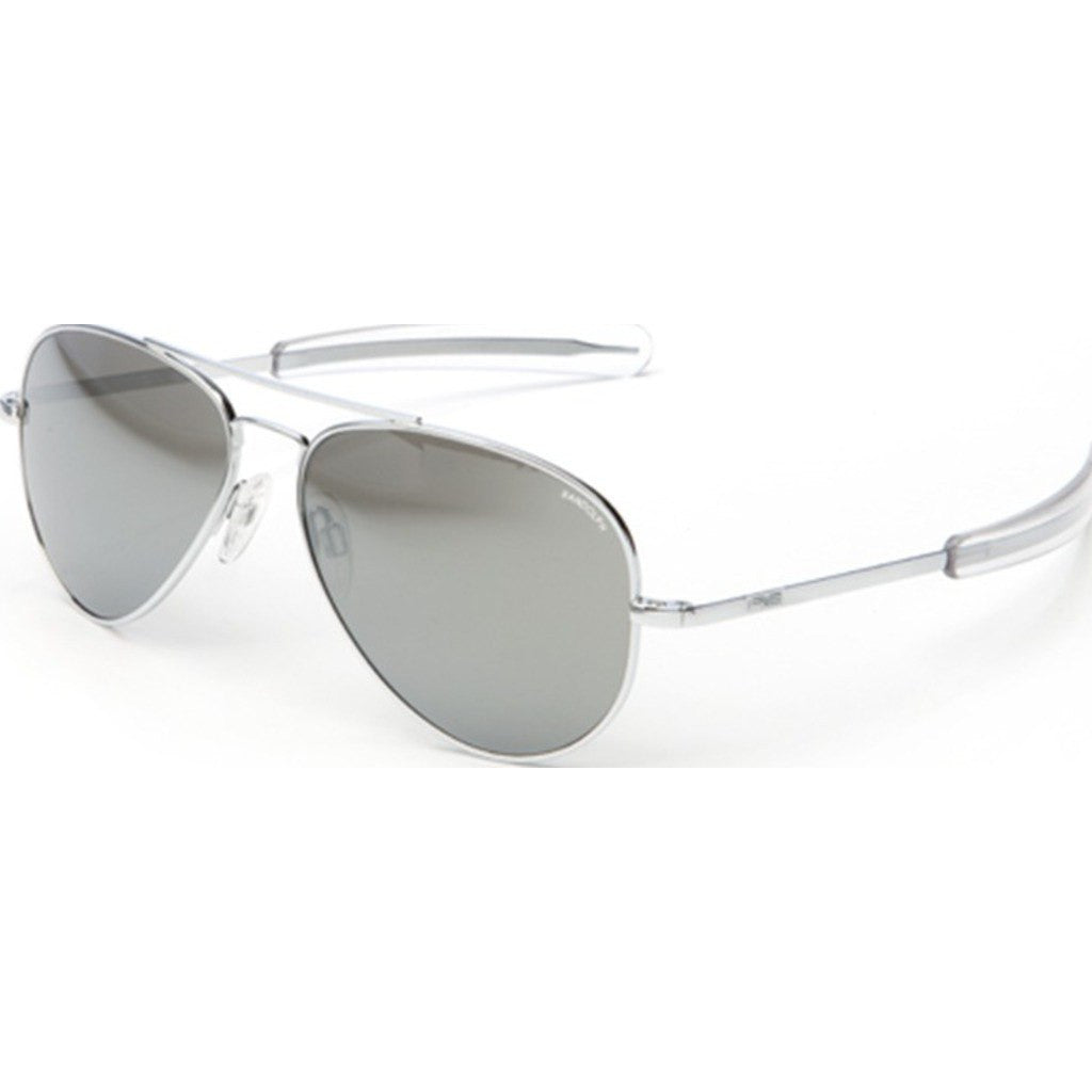 Randolph Engineering Concorde Bright Chrome Sunglasses | Gray Flash Mirror Glass Bayonet 57MM CR73663/61MM CR13663