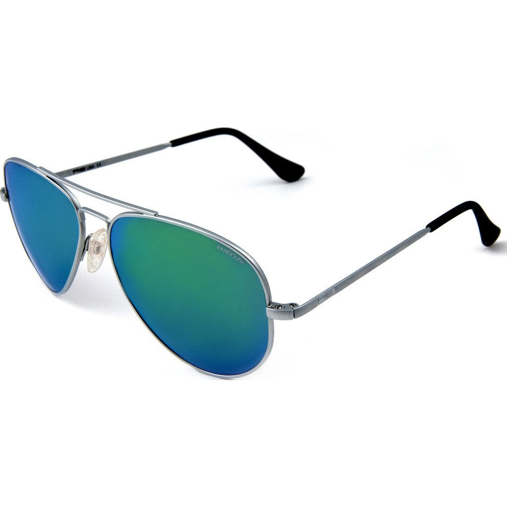 Randolph Engineering Concorde Matte Chrome Sunglasses | Green Flash PC Skull 57MM CR74467-PC/61MM CR14467-PC