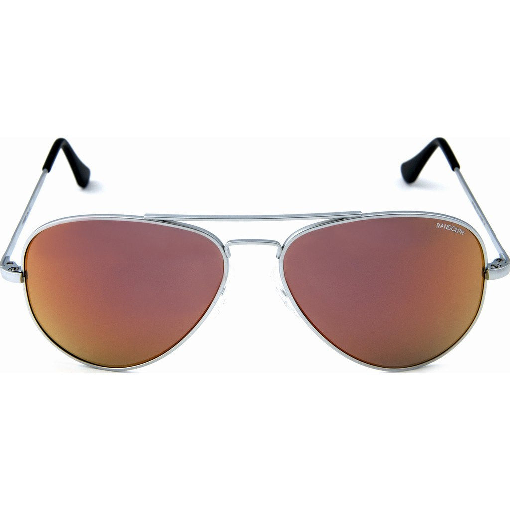 Randolph Engineering Concorde Matte Chrome Sunglasses | Orange Flash PC Skull 57MM CR74469-PC/61MM CR14469-PC