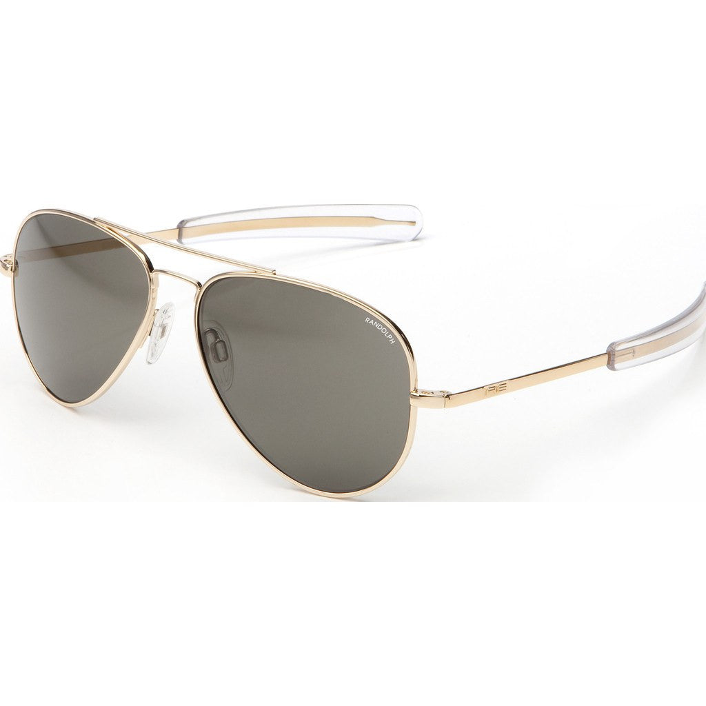 Randolph Engineering Concorde 23K Gold Plated Sunglasses | Gray Polarized Glass Bayonet 52MM CR21634/57MM CR71634