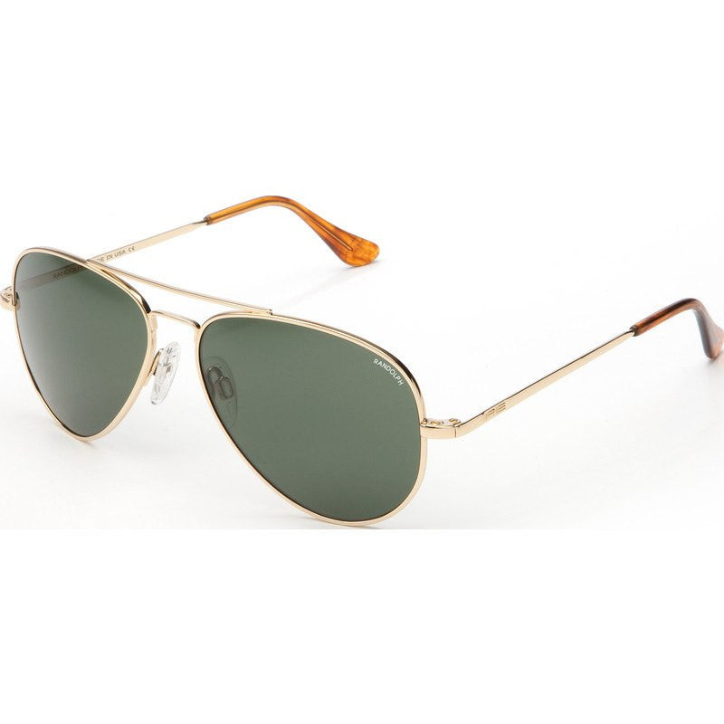 Randolph Engineering Concorde 23K Gold Plated Sunglasses | AGX Green Skull
