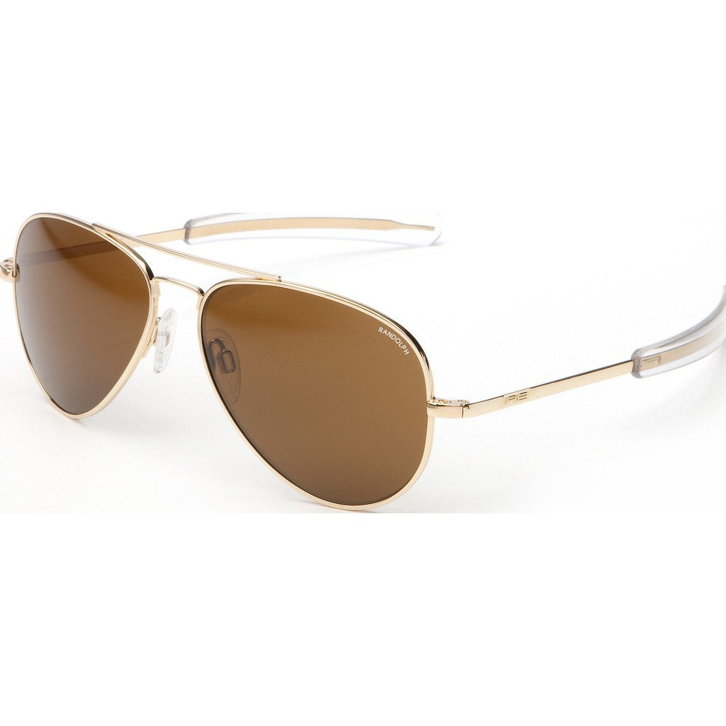 Randolph Engineering Concorde 23K Gold Plated Sunglasses | Tan Polarized Glass Bayonet 57MM CR71632