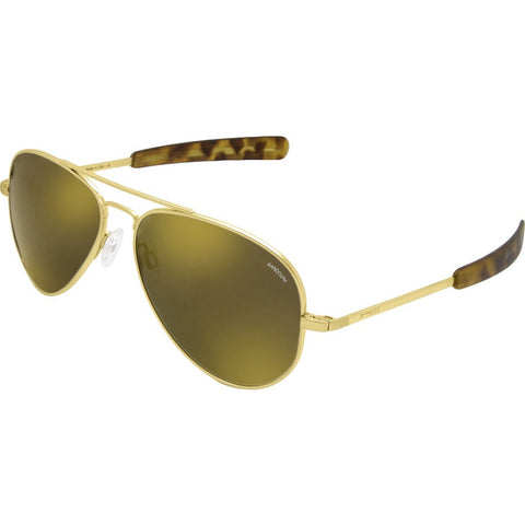 Randolph Engineering Concorde 23K Gold Sunglasses | Gold Flash Mirror Polarized Glass Bayonet 57MM CR71676