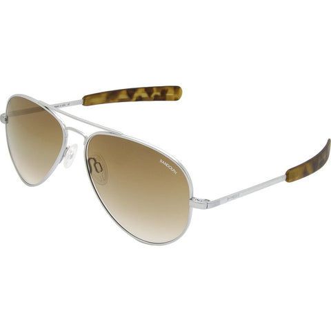 Randolph Engineering Concorde Matte Chrome Sunglasses | Tan Gradient Glass Bayonet 57MM CR74604