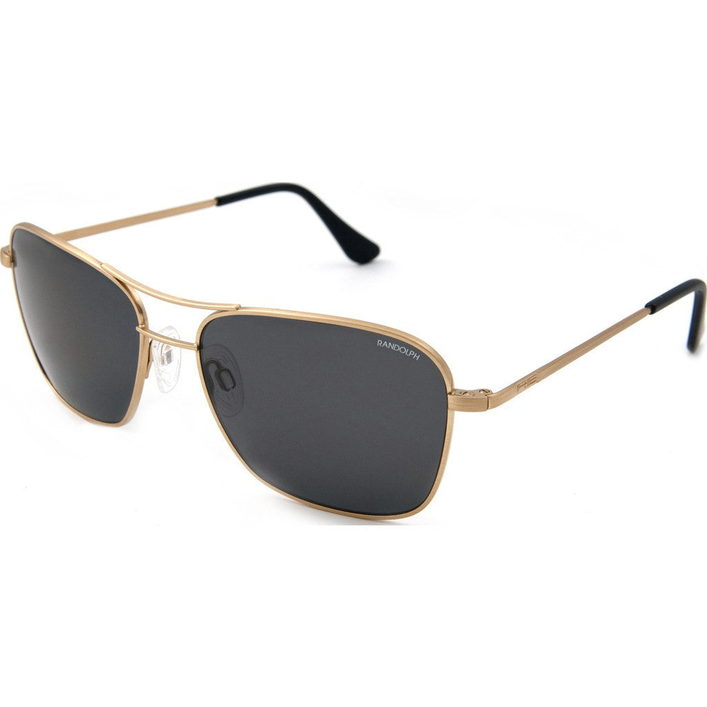 Randolph Engineering Corsair Almond Gold Sunglasses | Gray Glass Skull 58MM CS8A411