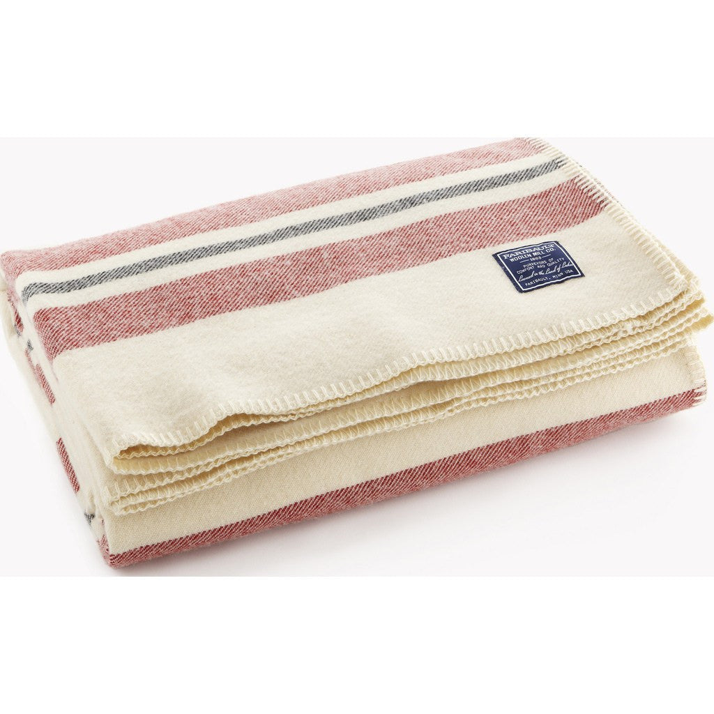 Faribault Cabin Wool Blanket | Natural/Red/Black 6881 Twin/6898 Queen/6904 King