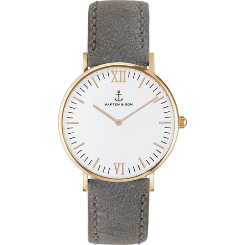 Kapten & Son Campina Grey Vintage Leather Watch | White