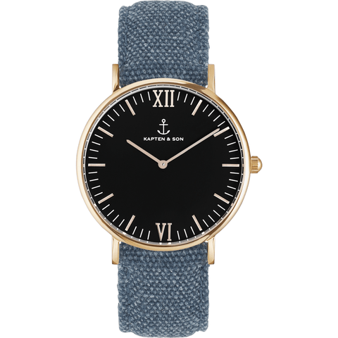 Kapten & Son Campina Blue Canvas Watch | Black
