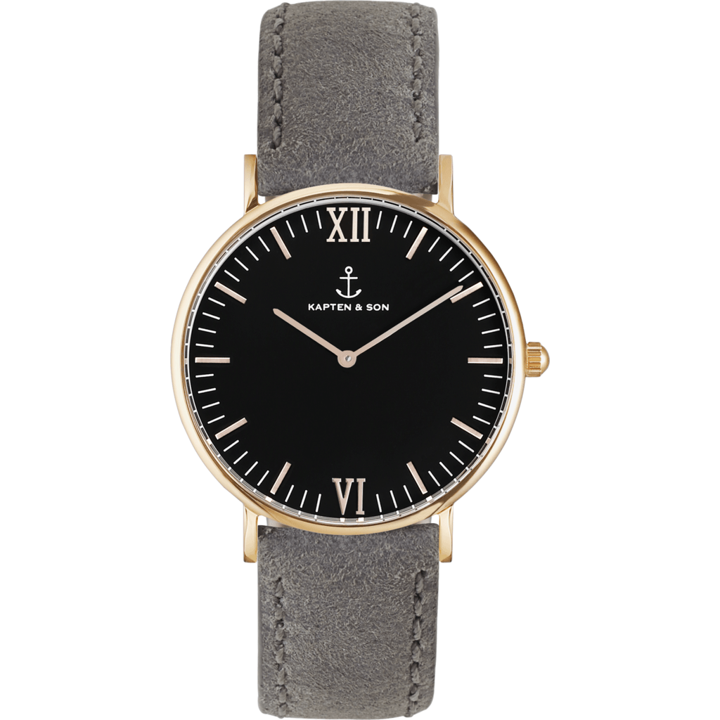 Kapten & Son Campina Grey Vintage Leather Watch | Black