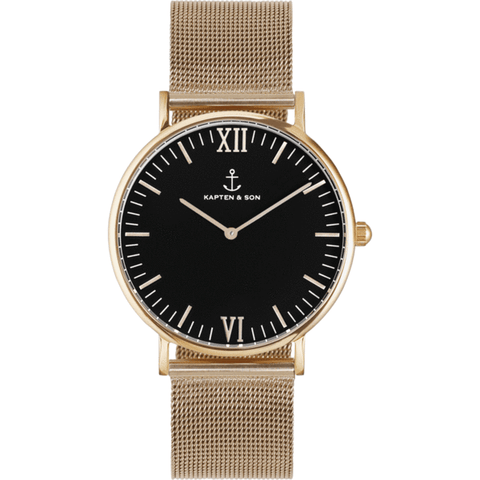 Kapten & Son Campus Gold Mesh Watch | Black