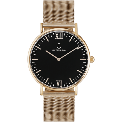 Kapten & Son Campina Gold Mesh Watch | Black