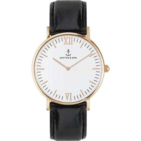 Kapten & Son Campus Black Leather Watch | White