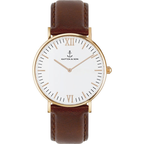 Kapten & Son Campus Brown Leather Watch | White