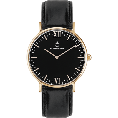 Kapten & Son Campus Black Leather Watch | Black