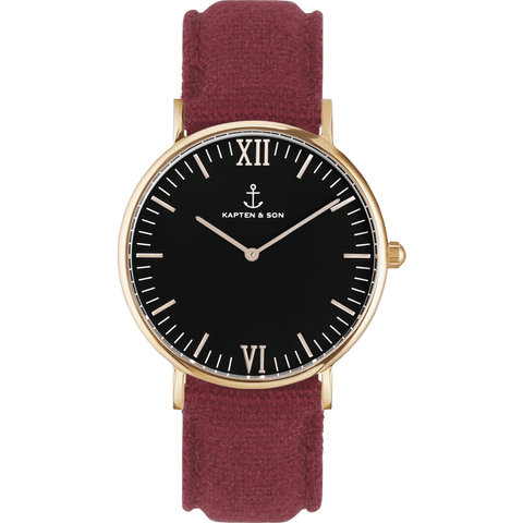 Kapten & Son Campus Bordeaux Canvas Watch | Black