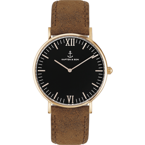 Kapten & Son Campus Brown Vintage Leather Watch | Black