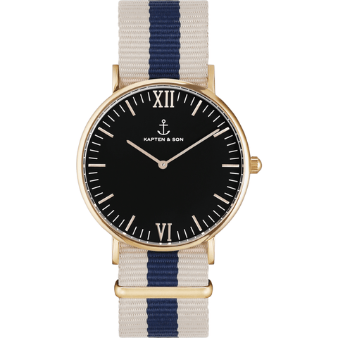 Kapten & Son Campus Roadtrip Nylon Watch | Black