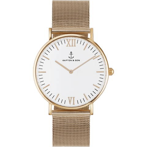 Kapten & Son Campus Gold Mesh Watch | White