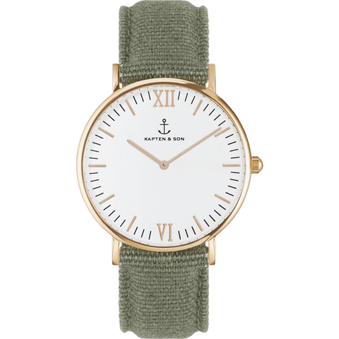 Kapten & Son Campus Olive Canvas Watch | White