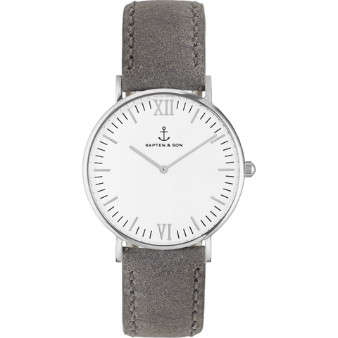 Kapten & Son Campus Grey Vintage Leather Watch | White