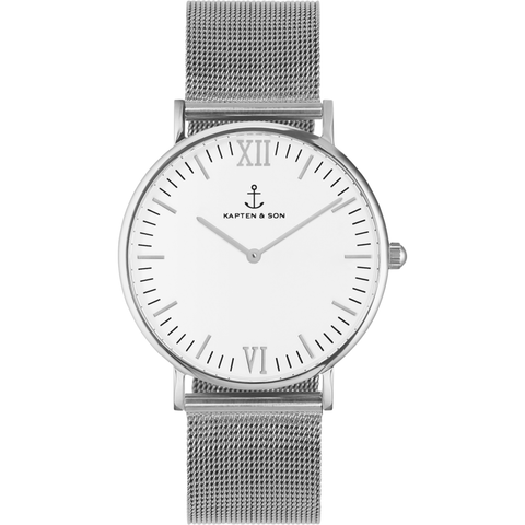Kapten & Son Campus Silver Mesh Watch | White