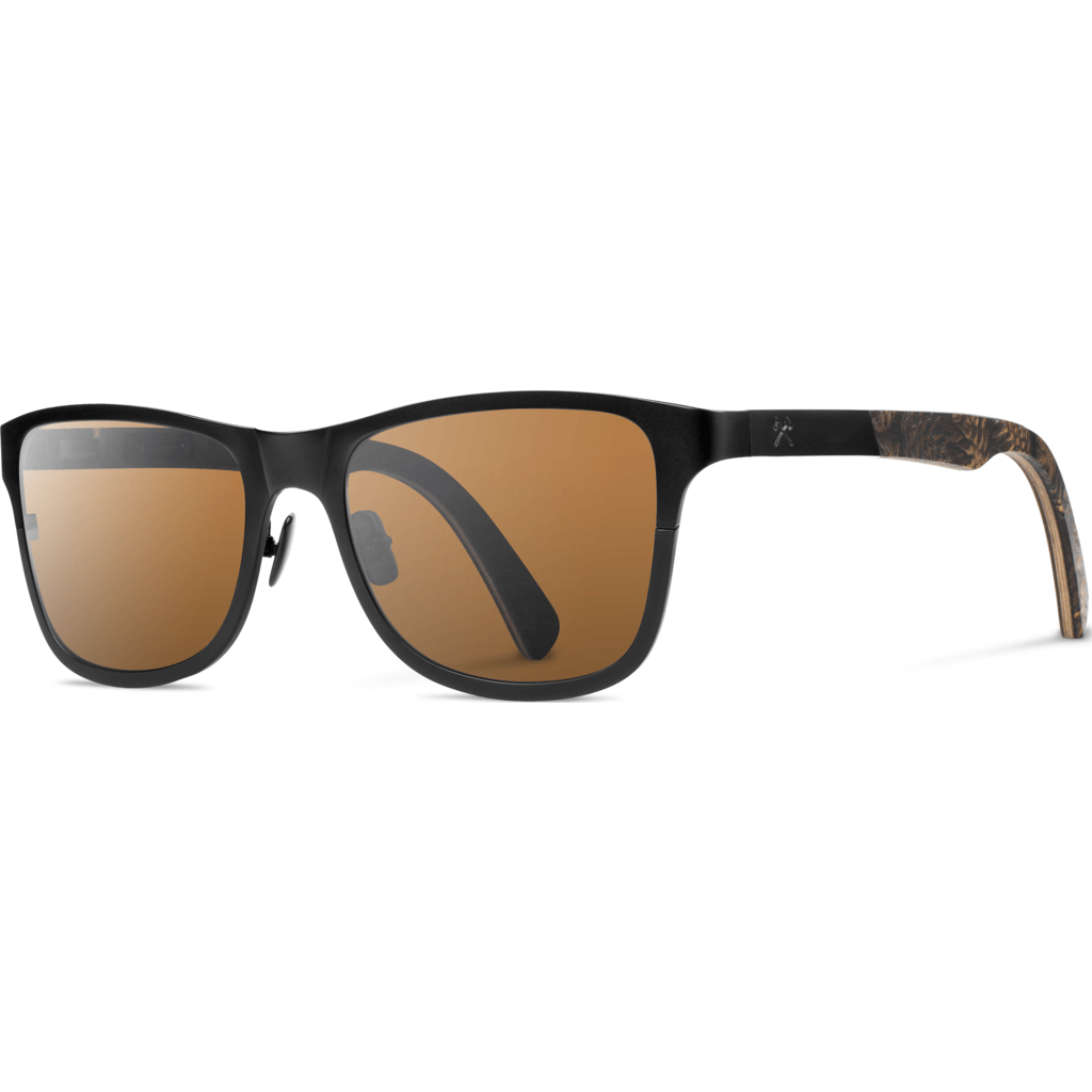 Shwood Canby Black Titanium Sunglasses | Cone/Brown Polarized