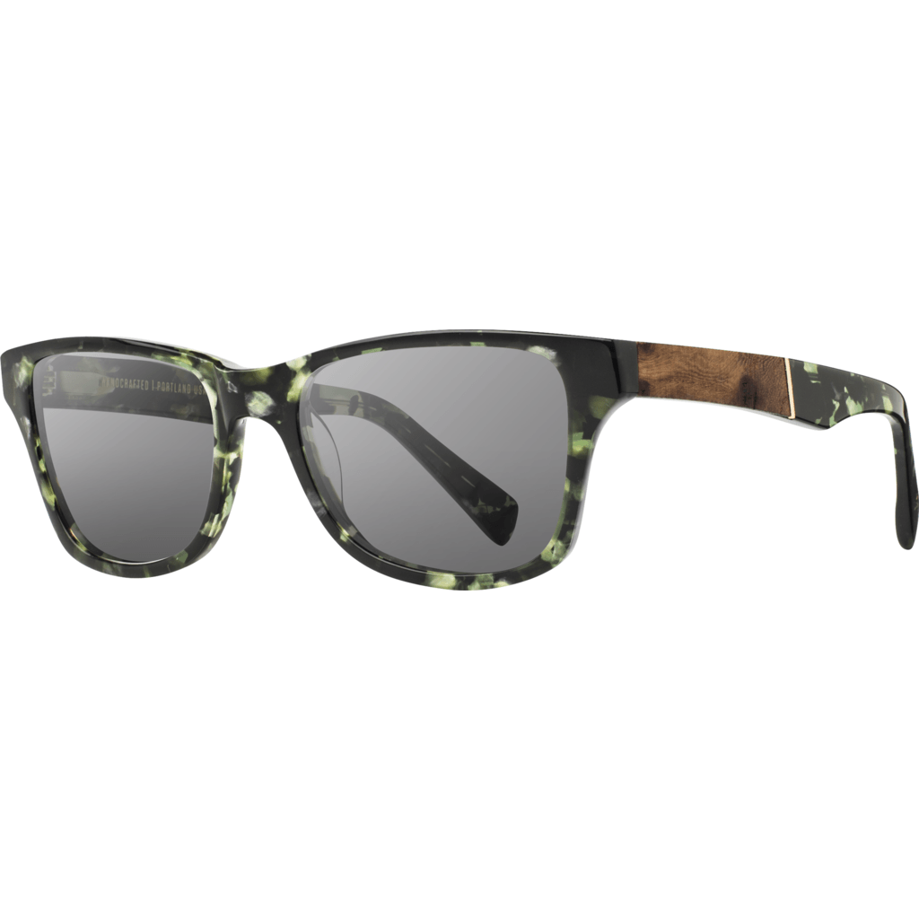 Shwood Canby Acetate Sunglasses | Dark Forest & Elm Burl / Grey Polarized WACDFELGP