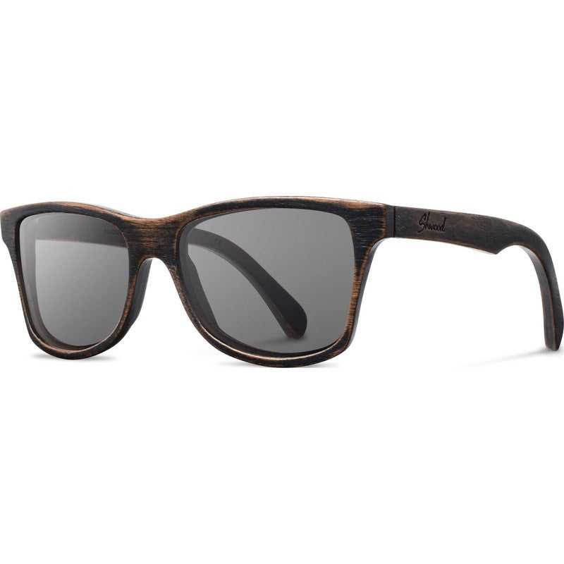 Shwood Canby Original Sunglasses | Distressed Dark Walnut / Grey Polarized
