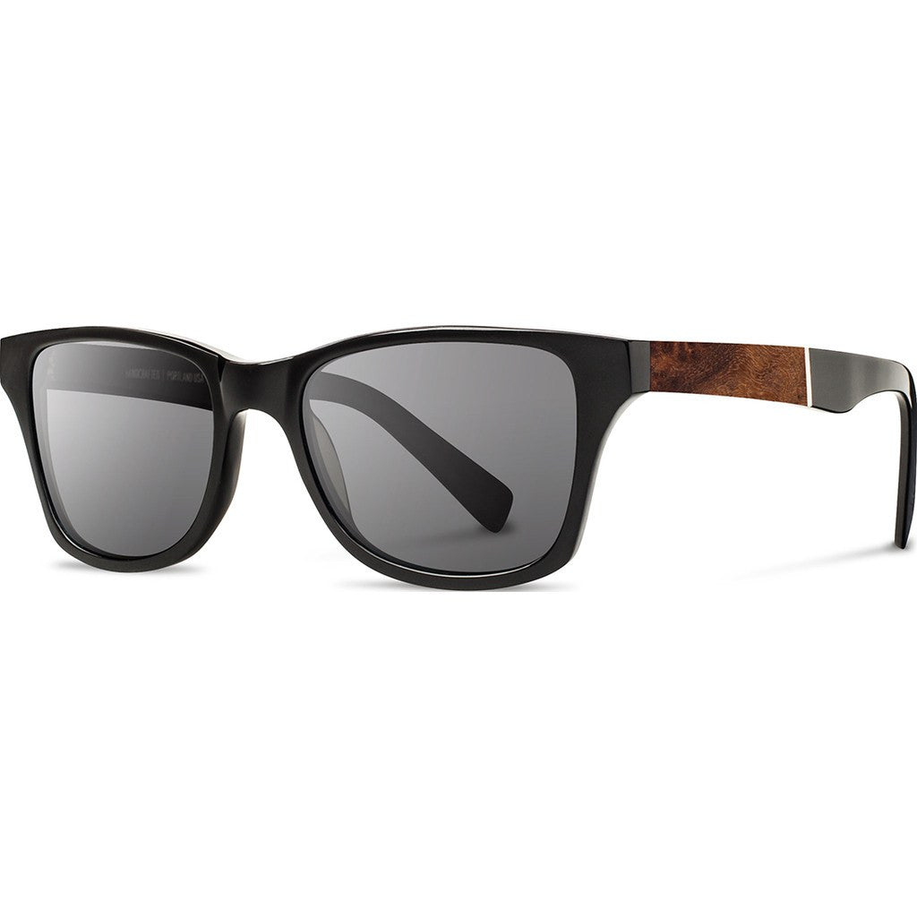 Shwood Canby Acetate Sunglasses | Black & Elm Burl / Grey Polarized WACBELGP