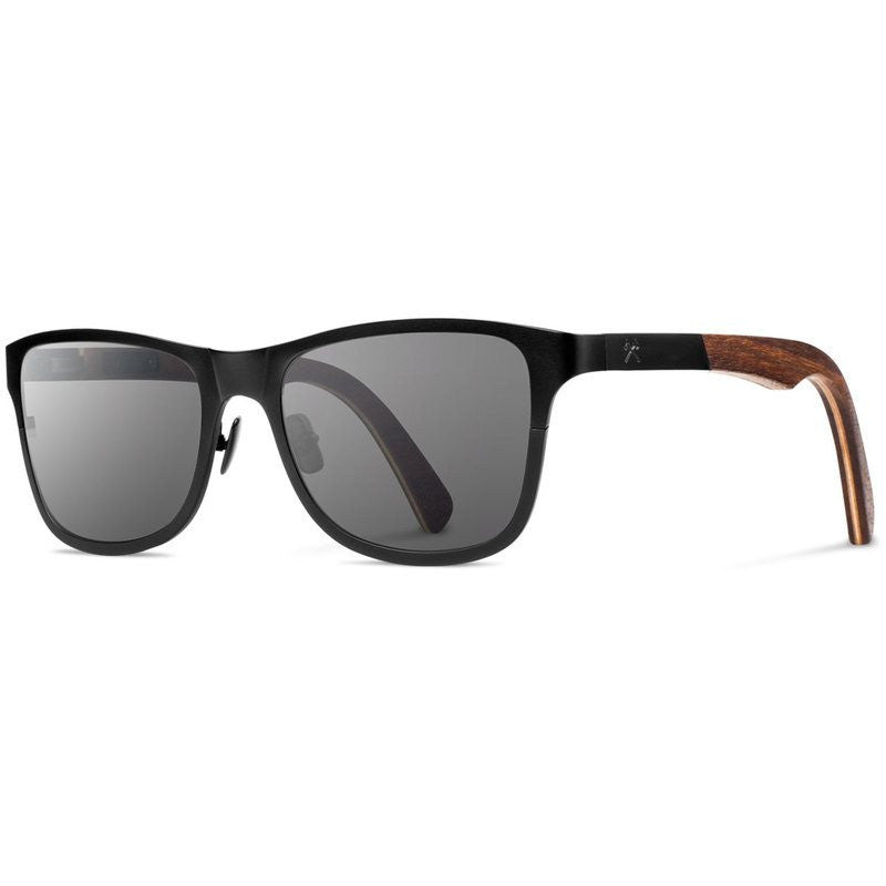 Shwood Canby Titanium Fifty Fifty Sunglasses | Black & Walnut / Grey