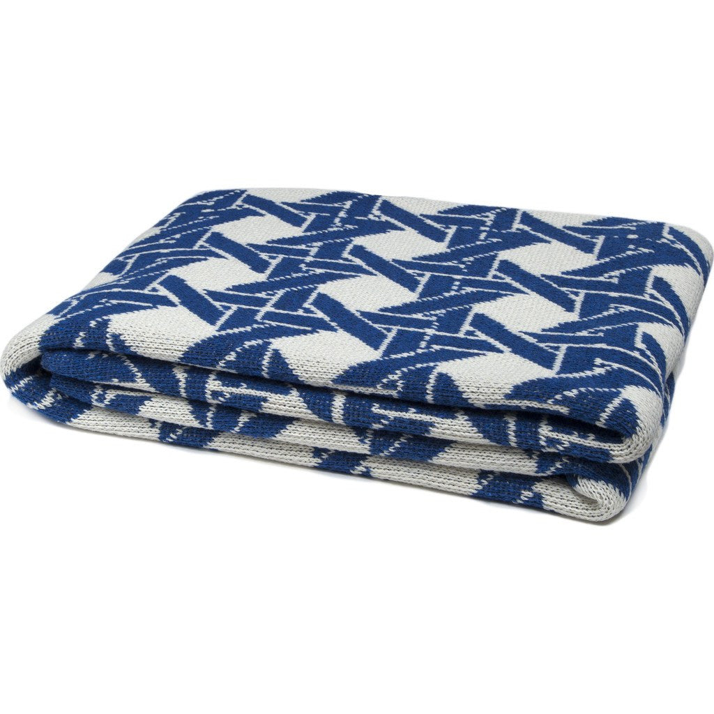 in2green Cane Eco Throw | Milk/Cobalt BL01CA4