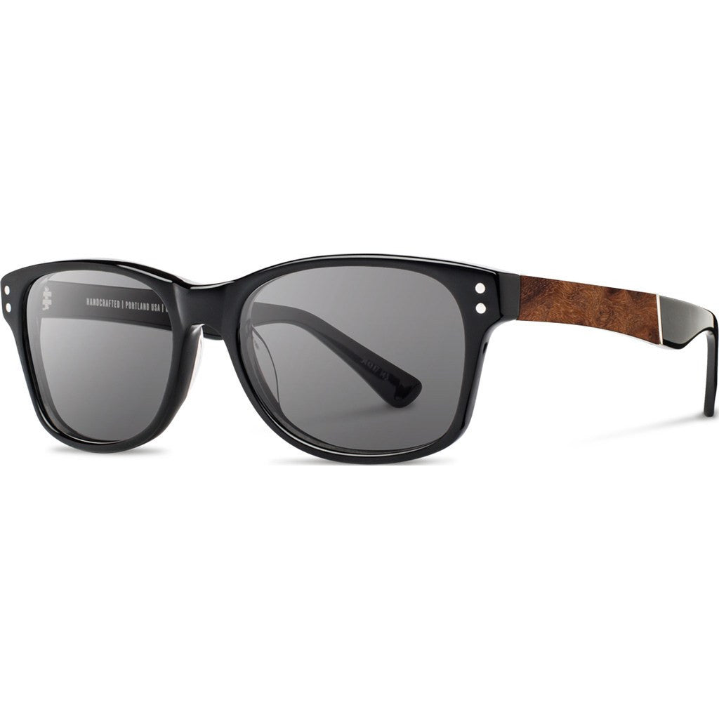 Shwood Cannon Acetate Sunglasses | Black & Elm Burl / Grey Polarized WAC2BELGP