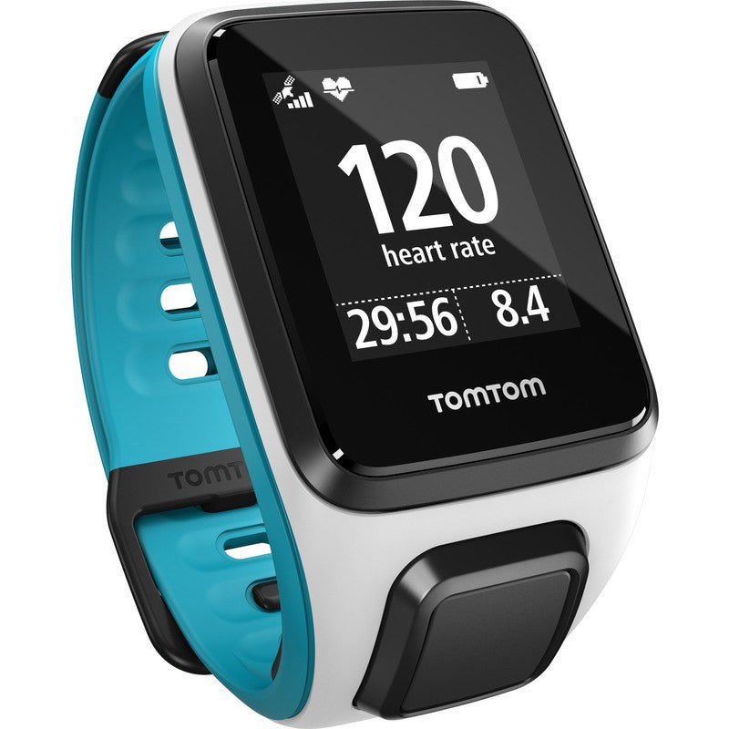 TomTom Spark Music + Cardio Small Watch | White/Scuba Blue 1RFM.002.08