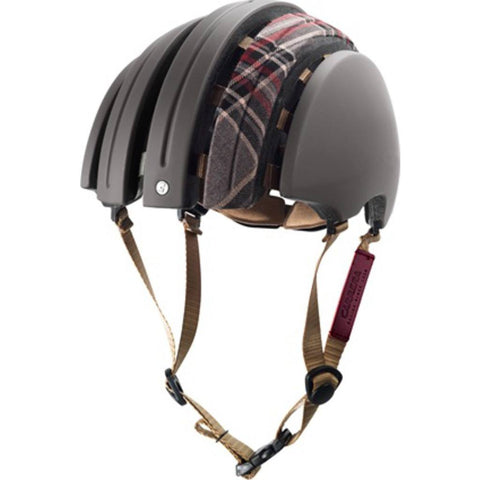 Brooks England x Carrera Foldable Helmet w/ Cover | Dark Grey/Grey Tartan M