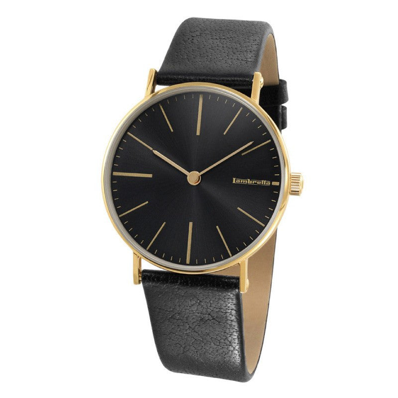 Lambretta Cesare Gold Black Watch | Black Leather