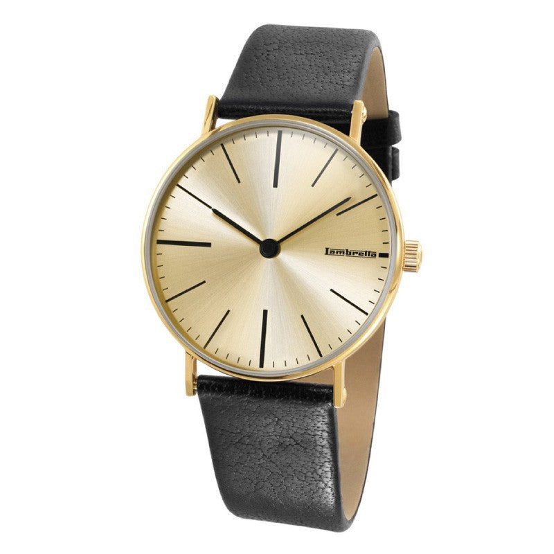 Lambretta Cesare Gold Cream Watch | Black Leather